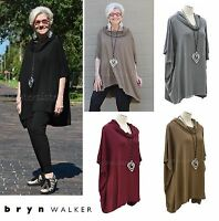 BRYN WALKER French Terry Jersey COWL PONCHO Boxy Tunic Top XS S M L XL  4 COLORS