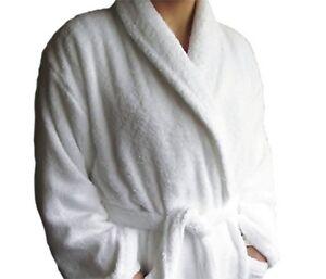 WHITE HOTEL QUALITY  100% COTTON TERRY BATHROBES FREE SIZE XL 450 & 500GSM