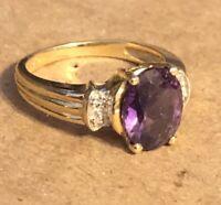 14K Plum Yellow Gold Spinel & Diamond Ring Size 7.25