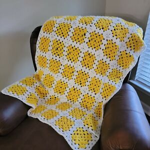 Vintage Afghan Crochet Granny Square 30x50 Inches Handmade Blanket Yellow White
