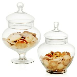 Squat Clear Glass Bonbon Sweet Candy Storage Jar with Lid Wedding Party Gift Box