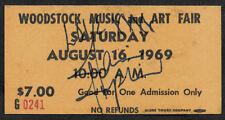 Janis Joplin Autograph & Woodstock Ticket Reprint On Genuine 1960s Card *9028