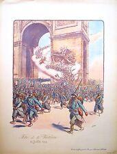 """Lithographie de SEM, Guerre 1914-18, """"Fête de la Victoire 14 juillet 1919"""""""