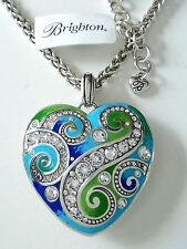 "NWT BRIGHTON ""LA BELLA HEART"" BLUE / GREEN, CLEAR CRYSTAL NECKLACE"