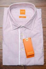 NWT Hugo Boss Men's Slim Fit Red Striped Cotton Casual Shirt L