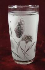 Vintage Gray And Black Wheat & Flowers Flat Juice Glass White & Clear Color (O)