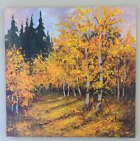 "EVA SZORC Landscape Painting Original Oil On Canvas 20"" x 20"" Fall Birch Forest"