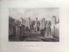 CASA PRIVADA EN POMPEYA Napoli Vesubio acero original 1850J. B. ALLEN columnas