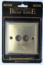 Sector Die Cast Georgian Rope Edge Brass Diplex Co-Axial Socket TV FM black ins