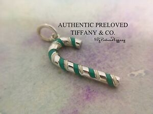 Excellent Authentic Tiffany & Co. Blue Green Enamel Cane Candy Charm Silver