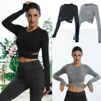 Sexy Women Gym Yoga Crop Top Long Sleeve Workout Fitness Running Sport T-Shirt A