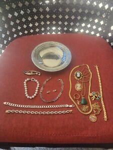 Sterling Silver & gold-filled Jewelry Lot necklaces,Bracelet 4 scrap or wear 155