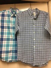 ST.JOHN BAY & OLD NAVY MEN'S SHIRTS SZ SM BLUE CHECKS 59% LINEN & COTTON LOT 2