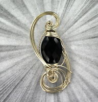 Black Onyx Gemstone Pendant Necklace in Sterling Silver