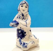 Gzhel porcelain figurine girl and chicken Original Souvenirs from Russia