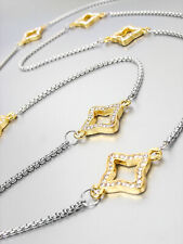 """EXQUISITE 18kt Gold Plated Crystals Clover Charms Silver Box Chain 34"""" Necklace"""