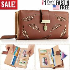 Women Ladies PU Leather Clutch Long Wallet ID Card Phone Holder Purse Handbag US