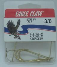 Eagle Claw Fish Hooks Size 3//0 Style 202 RP Gold Finish 8 Count Box