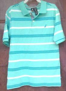 Nautica Youth Boys L (14/16) Short Sleeve Polo Shirt Blue Green Striped White