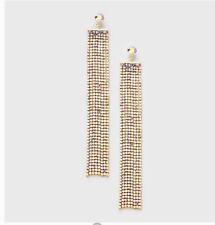 "5.25"" Long Gold Ab Aurora Borealis Drop Glass Crystal Rhinestone Earrings Formal"