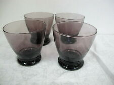 ANCHOR HOCKING PURPLE AMETHYST BEVERAGE  GLASSES TUMBLERS  SET OF 4