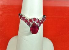 NATURAL NIASSA RUBIES PLATINUM OVER 925 STERLING SILVER DROP RING SIZE 7 TGW2.40