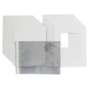 Bright White Picture & Photo Mount back + clear bag kit-Nice white quality bevel