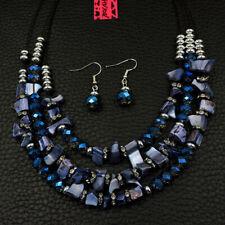 Betsey Johnson Fashion Jewelry Noble Blue Gemstone Choker Necklace Earrings Set
