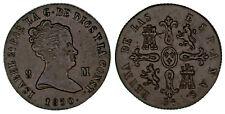 8 Copper Maravedis / Cuivre Isabella Ii-Isabel II Jubia 1850. XF / Ebc. Sexy