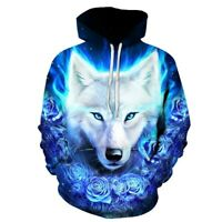 Blue Rose White Wolf Hoodies Men Women Pullovers Sweatshirts Homme 3D Tracksuit