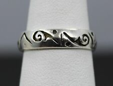 Sterling Silver Intrecatly Pierced Abstract Design Band Ring Size 7
