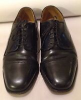 Johnston & Murphy Black Men's Leather Dress Shoes Size 8 Lace Up Oxfords