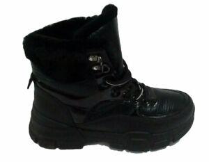 Plateau Sneaker Boots Damen Lack Schuhe Stiefeletten Outdoor Boots Schwarz Gr 37