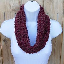 SUMMER COWL SCARF Dark Red Burgundy Wine Small Short Infinity Loop Crochet Knit
