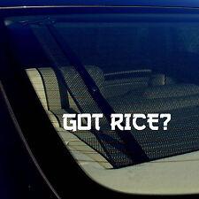 "Got Rice? Funny JDM Drifting Racing Street Bike Vinyl Decal Sticker 7.5"" JapFnt"