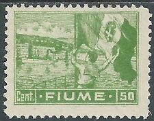 1919 FIUME ALLEGORIE E VEDUTE 50 CENT CARTA C MH * - P55-8