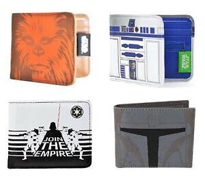 Genuine Star Wars Bi-Fold Wallet Retro Film Empire Chewbacca R2-D2 Mandalorian