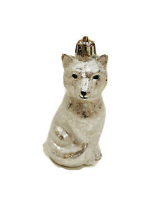 4 In Shatterproof Frosted White Fox Christmas Ornaments