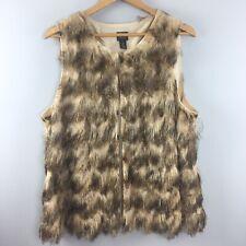 Chicos Travelers Vest 3 Brown Fringe Sleeveless Lined Animal Print GG5