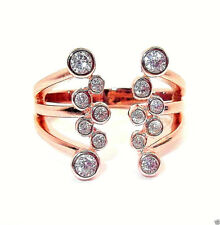 9CT ROSE GOLD PLATED 925 HALLMARKED SILVER OPEN RANDOM RUBOVER SET RING