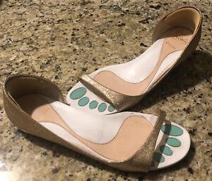 Christian Louboutin Gold Leather Open Toe Toboggan Sandal Flats 37.5 7.5 7 1/2