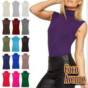 Ladies High Polo Neck Sleeveless Top Casual Plain Stretchy Bodycon Vest T-Shirt