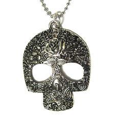 Dia De Los Muertos Sugar Skull W/ Rose Big Pendant Necklace silver plated gothic
