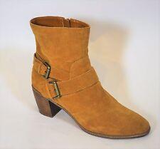 """Anne Klein Caramel Brown Suede Ankle Boots Brass Buckles 2.75"""" heel Sz 9.5M"""