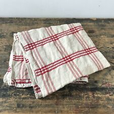 Antique red and white check linen hemp mattress cover.