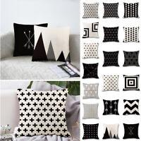 Modern Blanc Noir Motif de Géométrique Taie d'oreiller Housse de Coussin Deocr