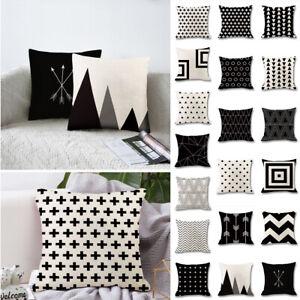 Eometric Cushion Cover Home Sofa Decor Black & White Linen Throw Pillow Case HOT