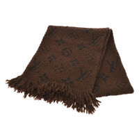 Auth Louis Vuitton Monogram Logomania Muffler Stole Brown Wool Silk AK33234a