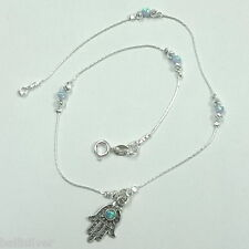 Sterling Silver 925 Opal Hamsa Charm, Laser Cut and Blue Opal Beads Anklet