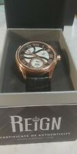 Reign Bhutan Genuine Leather Mens Automatic Watch, engraved dial. Rose Gold case